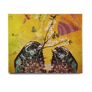 East Urban Home 'Birds In Love Yellow' Graphic Art Print on Wood; 16'' H x 20'' W x 1'' D