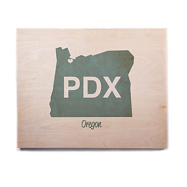 East Urban Home 'PDX' Textual Art on Wood; 20'' H x 24'' W x 1'' D