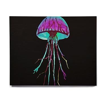 East Urban Home 'Night Of Jellyfish' Graphic Art Print on Wood; 8'' H x 10'' W x 1'' D