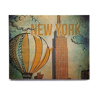 East Urban Home 'New York' Graphic Art Print on Wood; 8'' H x 10'' W x 1'' D