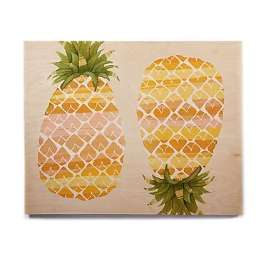 East Urban Home 'Happy Pineapples ' Graphic Art Print on Wood; 11'' H x 14'' W x 1'' D