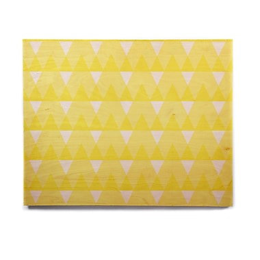 East Urban Home Custard 'Yellow Triangles' Graphic Art Print on Wood; 16'' H x 20'' W x 1'' D