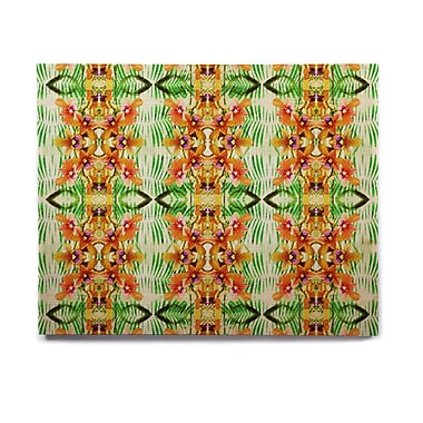 East Urban Home 'Tropical Flowers-Palm Leaves' Graphic Art Print on Wood; 16'' H x 20'' W x 1'' D