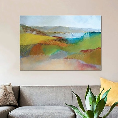 East Urban Home 'Green, Yellow and Rose Landscape' Skadi Engeln Framed Print on Canvas