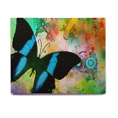 East Urban Home Butterfly 'Colorful Blue' Graphic Art Print on Wood