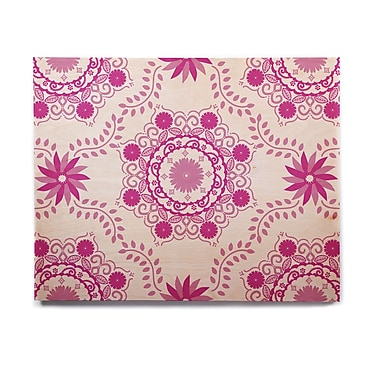 East Urban Home Floral 'Let's Dance Fuschia' Graphic Art Print on Wood; 16'' H x 20'' W x 1'' D