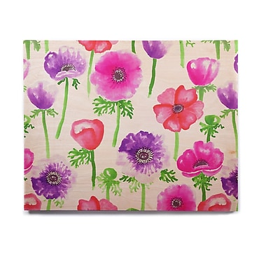 East Urban Home Flowers 'Anemones' Graphic Art Print on Wood; 11'' H x 14'' W x 1'' D