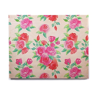 East Urban Home Floral 'Pink Roses' Graphic Art Print on Wood; 8'' H x 10'' W x 1'' D