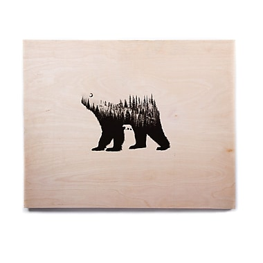 East Urban Home Illustration 'The Bear' Graphic Art Print on Wood; 16'' H x 20'' W x 1'' D