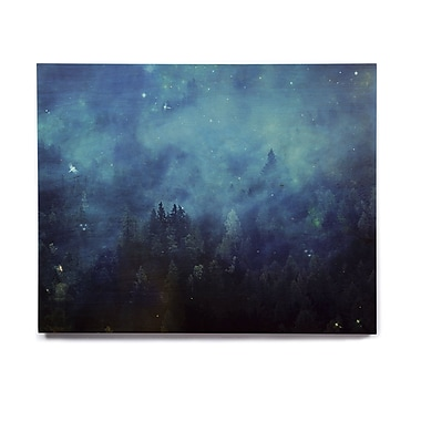 East Urban Home 'Blue Night Forest' Graphic Art Print on Wood; 16'' H x 20'' W x 1'' D