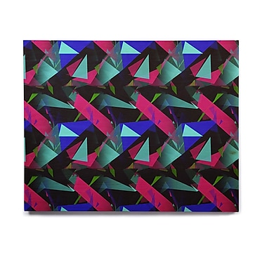 East Urban Home 'Confetti Triangles Dark' Graphic Art Print on Wood; 16'' H x 20'' W x 1'' D