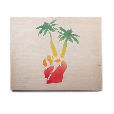 East Urban Home Palm Tree 'Peace Palms' Graphic Art Print on Wood; 11'' H x 14'' W x 1'' D
