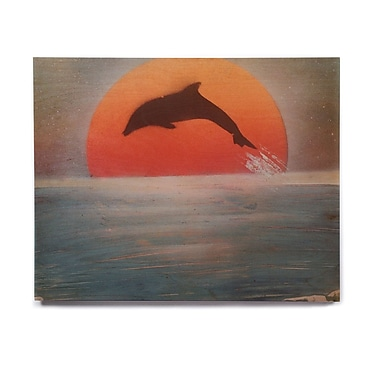 East Urban Home 'Dolphin Sunset' Graphic Art Print on Wood; 20'' H x 24'' W x 1'' D