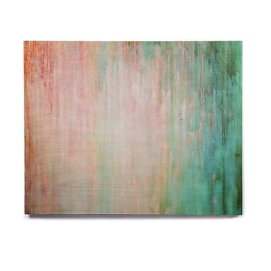 East Urban Home 'Color Wash Teal' Painting Print on Wood; 11'' H x 14'' W x 1'' D