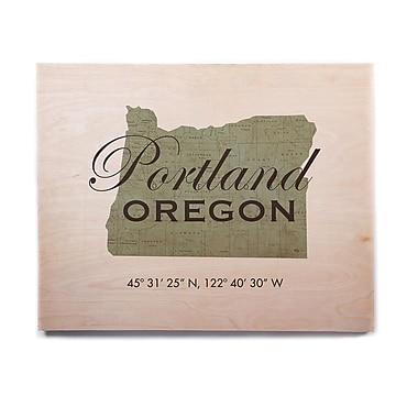 East Urban Home 'Portland Coordinates' Textual Art on Wood; 11'' H x 14'' W x 1'' D