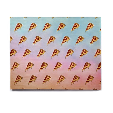 East Urban Home Food 'Lucid Pizza' Graphic Art Print on Wood; 8'' H x 10'' W x 1'' D