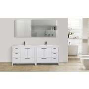 Ivy Bronx Roselle 83'' Free Standing Modern Bathroom Vanity; High Gloss White