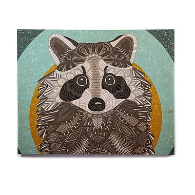 East Urban Home 'Racoon in Grass' Graphic Art Print on Wood; 20'' H x 24'' W x 1'' D