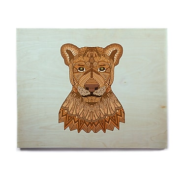 East Urban Home 'Lioness' Graphic Art Print on Wood; 8'' H x 10'' W x 1'' D