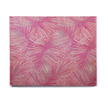 East Urban Home Illustration 'Pink Leaves' Graphic Art Print on Wood; 11'' H x 14'' W x 1'' D