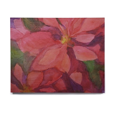 East Urban Home 'Cool Poinsettias' Painting Print on Wood; 11'' H x 14'' W x 1'' D