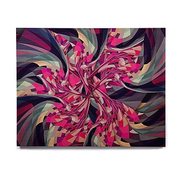 East Urban Home Geometric 'Purple Spiral' Graphic Art Print on Wood
