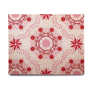 East Urban Home Floral 'Let's Dance Red' Graphic Art Print on Wood; 20'' H x 24'' W x 1'' D