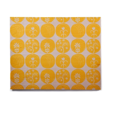 East Urban Home Circles 'Dotty Papercut Yellow' Graphic Art Print on Wood; 11'' H x 14'' W x 1'' D