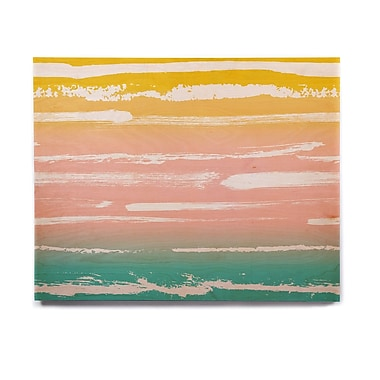 East Urban Home 'Painted Stripes Peach' Painting Print on Wood; 11'' H x 14'' W x 1'' D