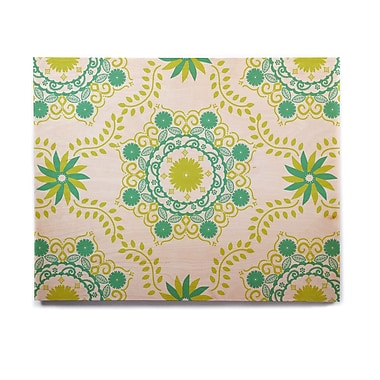 East Urban Home Floral 'Let's Dance Green' Graphic Art Print on Wood; 8'' H x 10'' W x 1'' D
