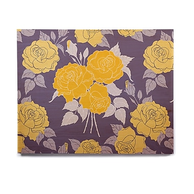 East Urban Home 'Summer Rose Yellow' Graphic Art Print on Wood; 8'' H x 10'' W x 1'' D
