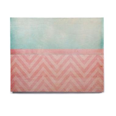 East Urban Home Blush 'Light Chevron Pink & Turquoise' Graphic Art Print on Wood