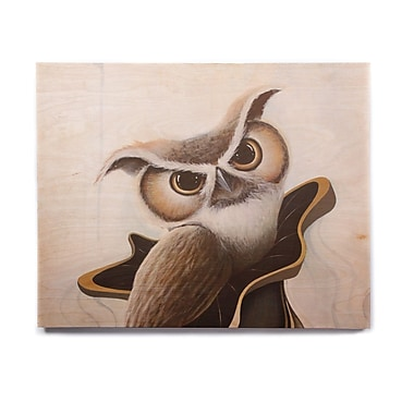 East Urban Home Owl 'Lucid June' Graphic Art Print on Wood; 16'' H x 20'' W x 1'' D
