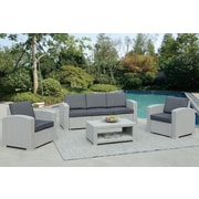 Darby Home Co Antoinette 4 Piece Coastal Deep Seating Group w/ Cushion; Light Gray
