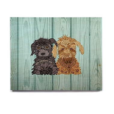 East Urban Home Abstract Puppies 'Daisy and Gatsby' Graphic Art Print on Wood