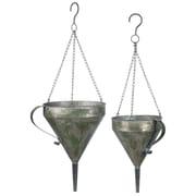 Gracie Oaks Belinda Distresses Funnel 2 Piece Metal Hanging Planter Set