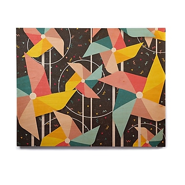 East Urban Home Abstract 'Colorful Pinwheels' Graphic Art Print on Wood; 20'' H x 24'' W x 1'' D