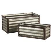Gracie Oaks Bertrand Trimmed 2 Piece Metal Planter Box Set