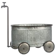 Gracie Oaks Besancon Rustic Corregated Metal Wheelbarrow Planter