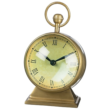 Darby Home Co Antiqued Brass Tabletop Clock