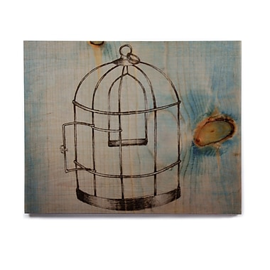 East Urban Home 'Bird Cage' Graphic Art Print on Wood; 8'' H x 10'' W x 1'' D