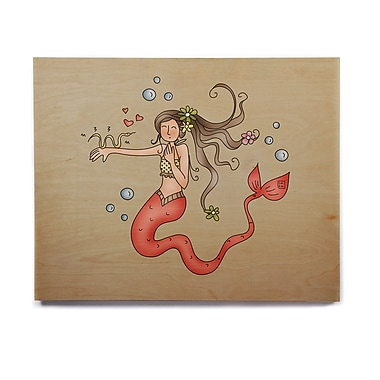 East Urban Home 'Mermaids Lovely' Graphic Art Print on Wood; 16'' H x 20'' W x 1'' D
