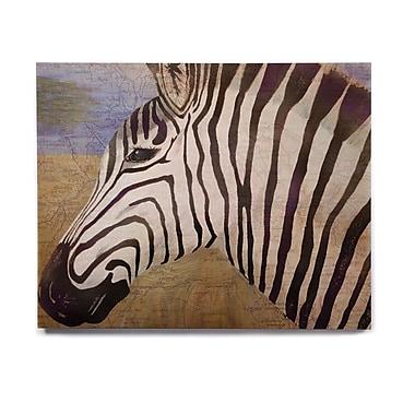East Urban Home 'Zebransky' Painting Print on Wood; 8'' H x 10'' W x 1'' D