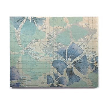 East Urban Home Map 'Flower Power Blue' Graphic Art Print on Wood; 11'' H x 14'' W x 1'' D