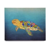 East Urban Home Turtle 'Bubbles' Graphic Art Print on Wood