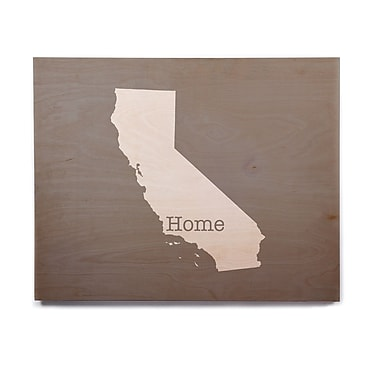 East Urban Home 'California Is Home' Graphic Art Print on Wood; 8'' H x 10'' W x 1'' D