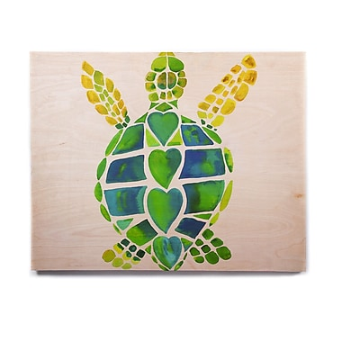 East Urban Home 'Turtle Love' Painting Print on Wood; 20'' H x 24'' W x 1'' D