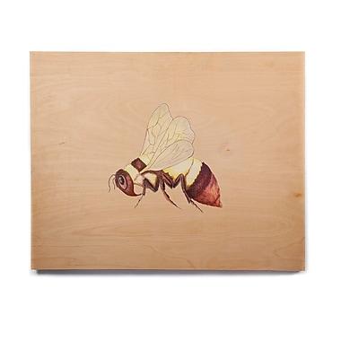 East Urban Home 'Bee Happy Beige' Graphic Art Print on Wood; 16'' H x 20'' W x 1'' D