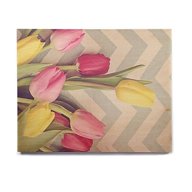 East Urban Home 'Tulips and Chevrons' Photographic Print on Wood; 20'' H x 24'' W x 1'' D