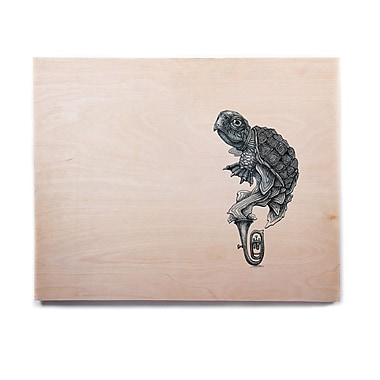 East Urban Home 'Turtle Tuba' Graphic Art Print on Wood